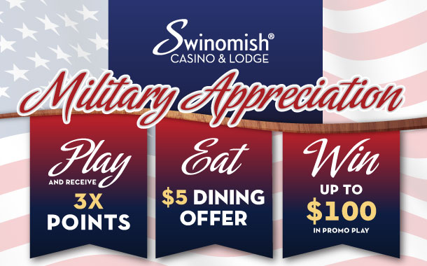 Military Appreciation: $5 Dining Offer, 3X Points